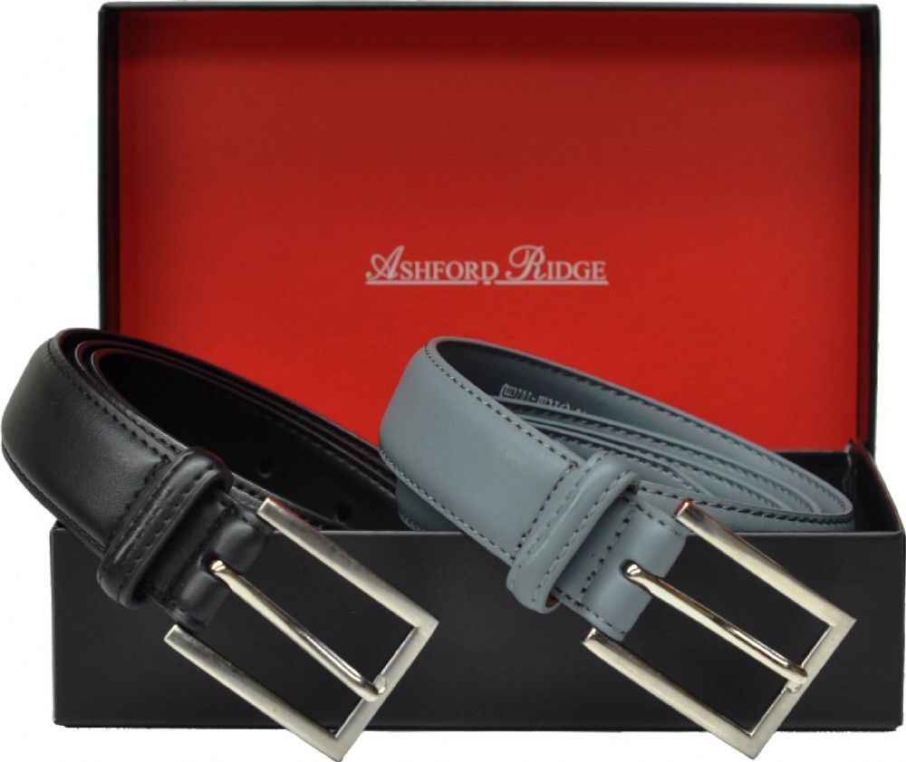 Ashford Ridge Gift Boxed 30mm Twin Belt Gift Set (Black & Grey)